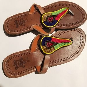 NWT Leather Beaded Summer Slippers/Sandals-sz 9/11
